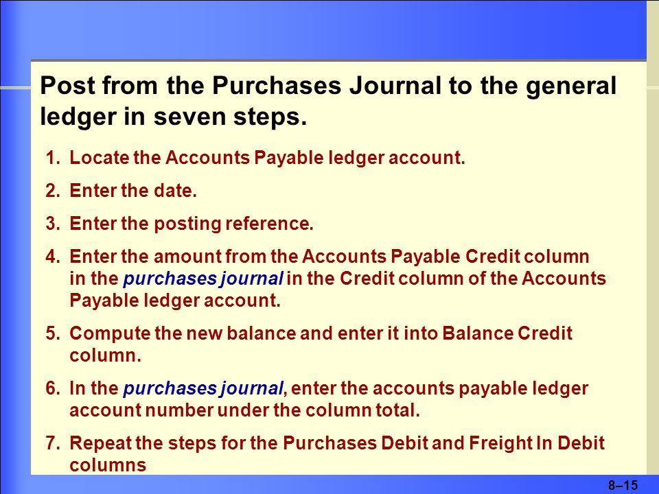 8–15 1.Locate the Accounts Payable ledger account.