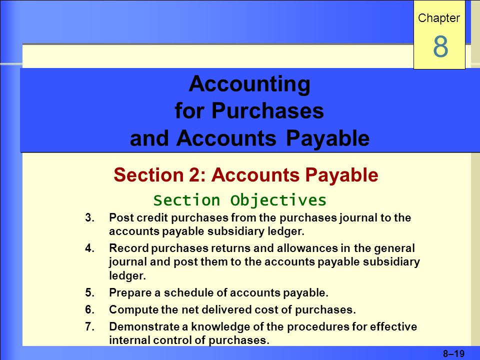 8–19 Accounting for Purchases and Accounts Payable Section 2: Accounts Payable Chapter 8 Section Objectives 3.Post credit purchases from the purchases journal to the accounts payable subsidiary ledger.
