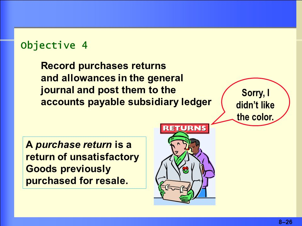 8–26 Objective 4 Record purchases returns and allowances in the general journal and post them to the accounts payable subsidiary ledger A purchase return is a return of unsatisfactory Goods previously purchased for resale.