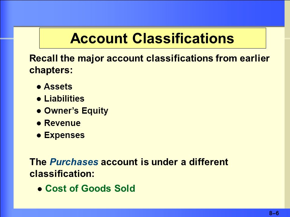 8–6 Account Classifications Assets Liabilities Owner's Equity Revenue Expenses The Purchases account is under a different classification: Recall the major account classifications from earlier chapters: Cost of Goods Sold