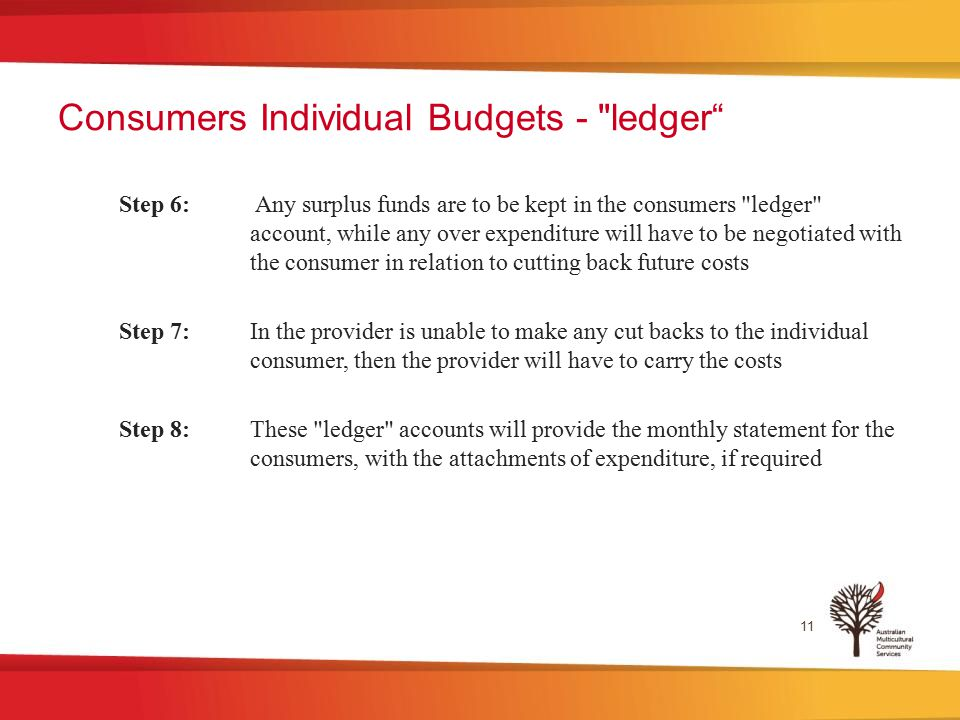 Consumers Individual Budgets - ledger Step 6: Any surplus funds are to be kept in the consumers ledger account, while any over expenditure will have to be negotiated with the consumer in relation to cutting back future costs Step 7: In the provider is unable to make any cut backs to the individual consumer, then the provider will have to carry the costs Step 8: These ledger accounts will provide the monthly statement for the consumers, with the attachments of expenditure, if required 11