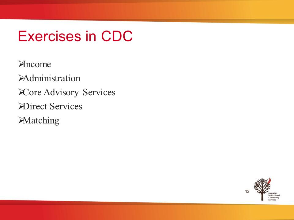 Exercises in CDC  Income  Administration  Core Advisory Services  Direct Services  Matching 12