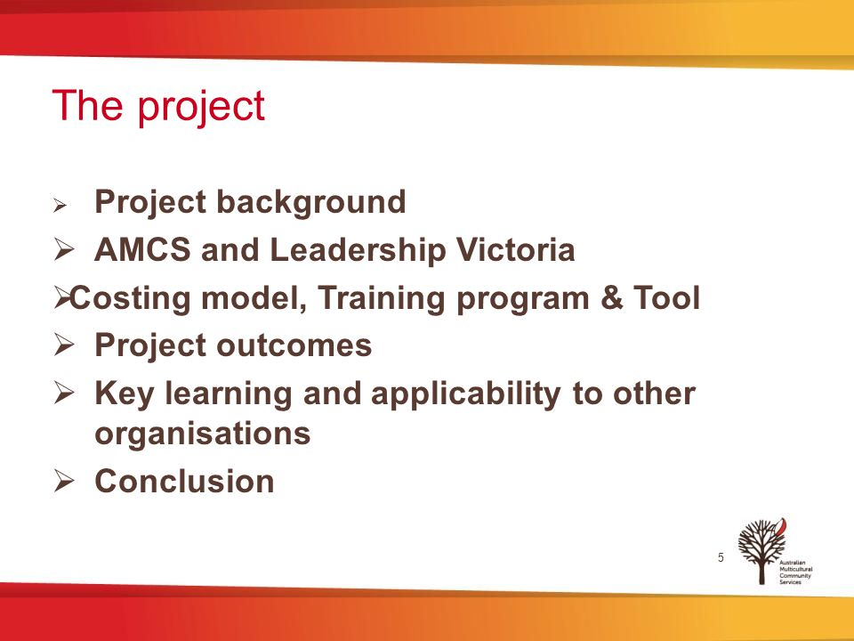 The project  Project background  AMCS and Leadership Victoria  Costing model, Training program & Tool  Project outcomes  Key learning and applicability to other organisations  Conclusion 5
