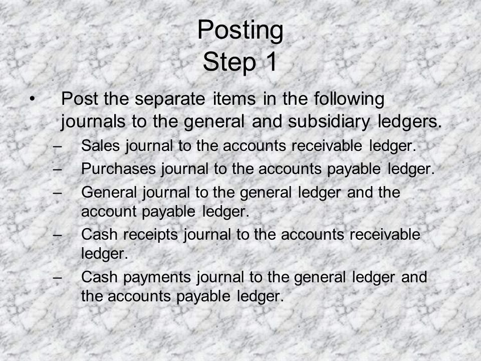 Posting Step 1 Post the separate items in the following journals to the general and subsidiary ledgers.