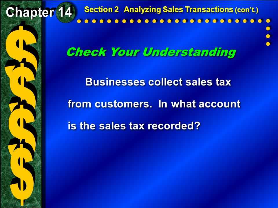 Check Your Understanding Businesses collect sales tax from customers.