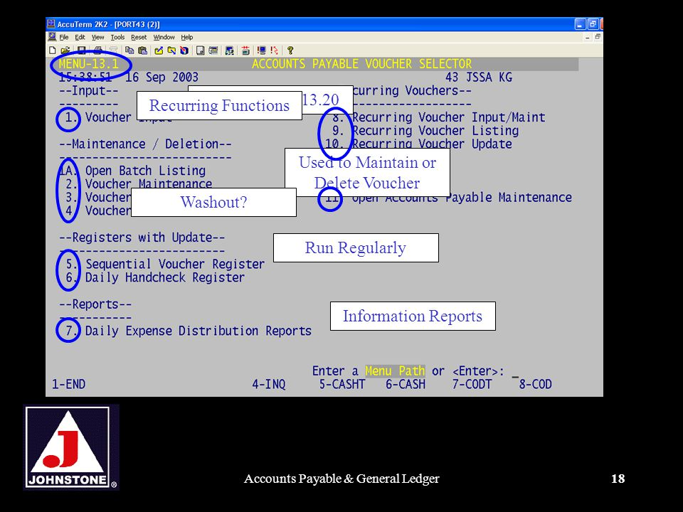 Accounts Payable & General Ledger18 Obsolete with 13.20Used to Maintain or Delete Voucher Run RegularlyInformation ReportsWashout Recurring Functions
