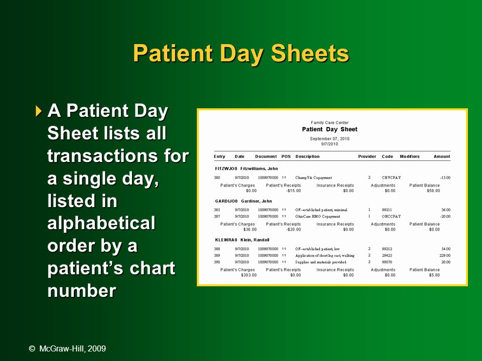 © McGraw-Hill, 2009 Patient Day Sheets  A Patient Day Sheet lists all transactions for a single day, listed in alphabetical order by a patient's chart number