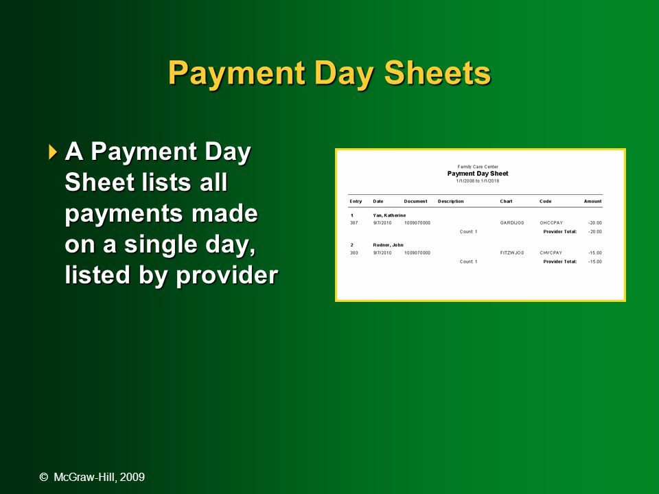 © McGraw-Hill, 2009 Payment Day Sheets  A Payment Day Sheet lists all payments made on a single day, listed by provider