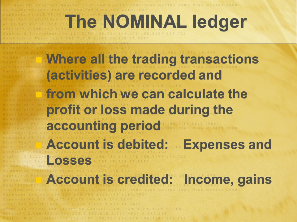 The NOMINAL ledger Where all the trading transactions (activities) are recorded and from which we can calculate the profit or loss made during the accounting period Account is debited: Expenses and Losses Account is credited: Income, gains Where all the trading transactions (activities) are recorded and from which we can calculate the profit or loss made during the accounting period Account is debited: Expenses and Losses Account is credited: Income, gains