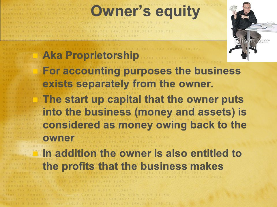Owner's equity Aka Proprietorship For accounting purposes the business exists separately from the owner.