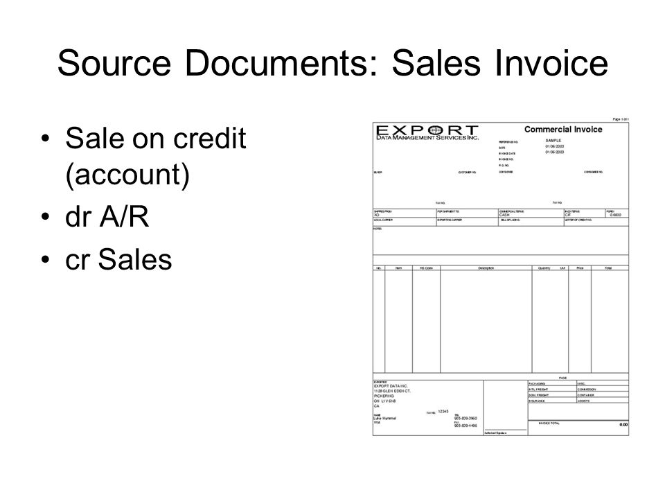 Source Documents: Sales Invoice Sale on credit (account) dr A/R cr Sales
