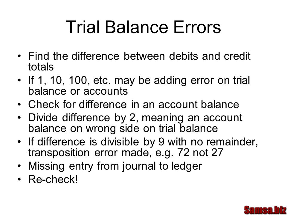 Trial Balance Errors Find the difference between debits and credit totals If 1, 10, 100, etc.