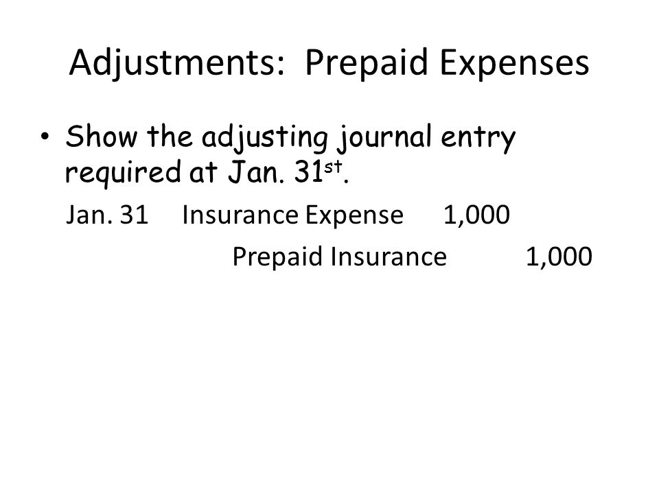 Adjustments: Prepaid Expenses Show the adjusting journal entry required at Jan.