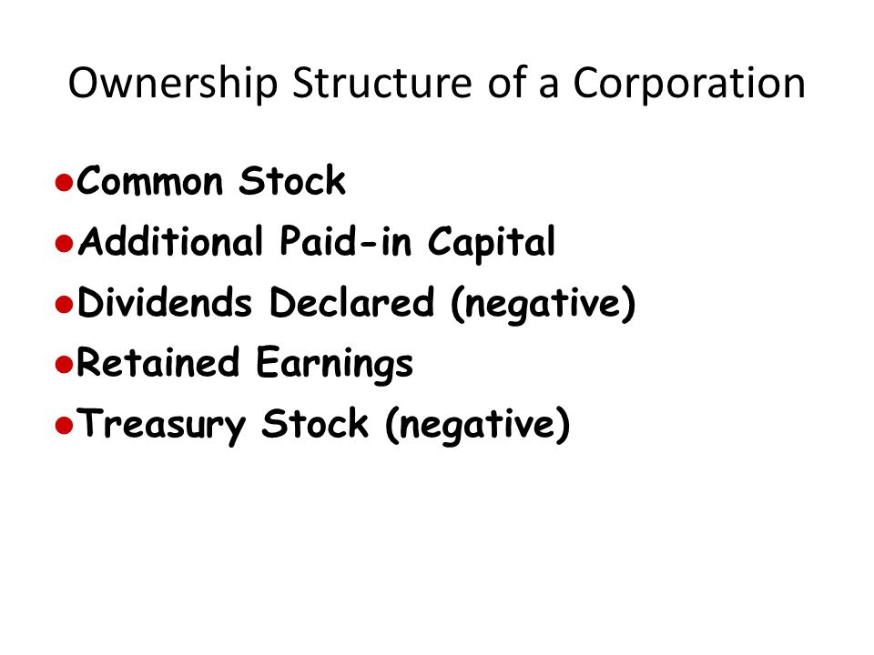 Ownership Structure of a Corporation Common Stock Additional Paid-in Capital Dividends Declared (negative) Retained Earnings Treasury Stock (negative)
