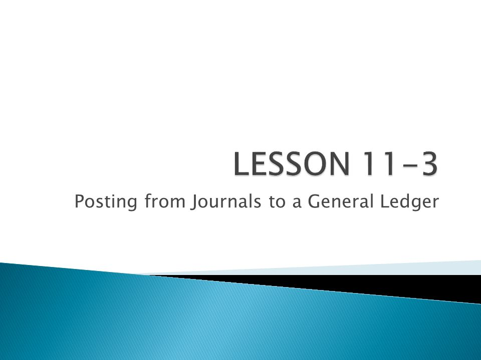 Posting from Journals to a General Ledger