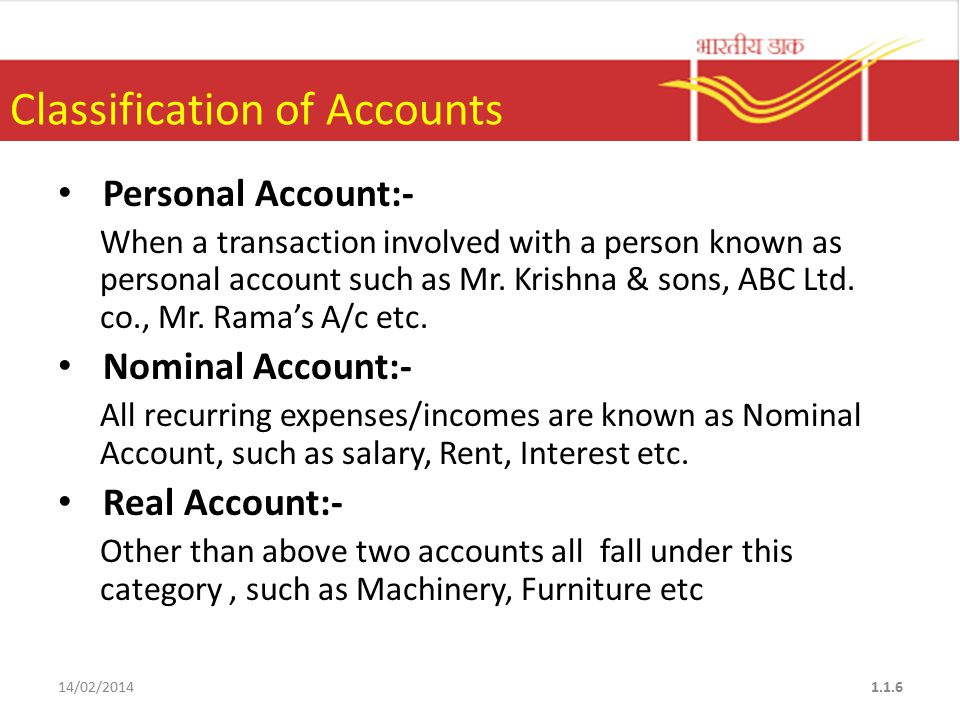 Classification of Accounts Personal Account:- When a transaction involved with a person known as personal account such as Mr.
