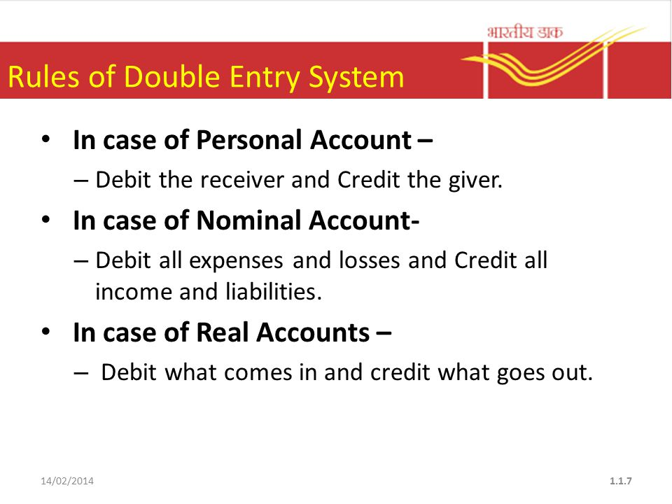 Rules of Double Entry System In case of Personal Account – – Debit the receiver and Credit the giver.
