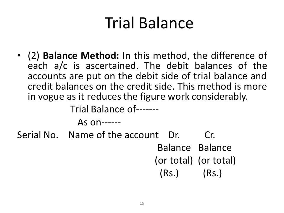 Trial Balance (2) Balance Method: In this method, the difference of each a/c is ascertained.