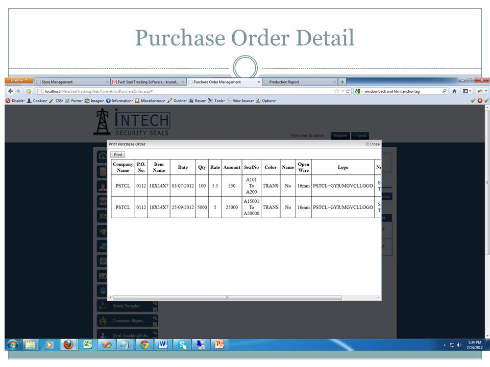 Purchase Order Detail