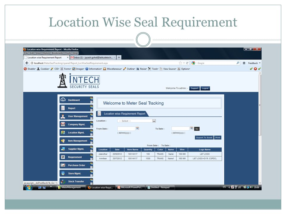 Location Wise Seal Requirement