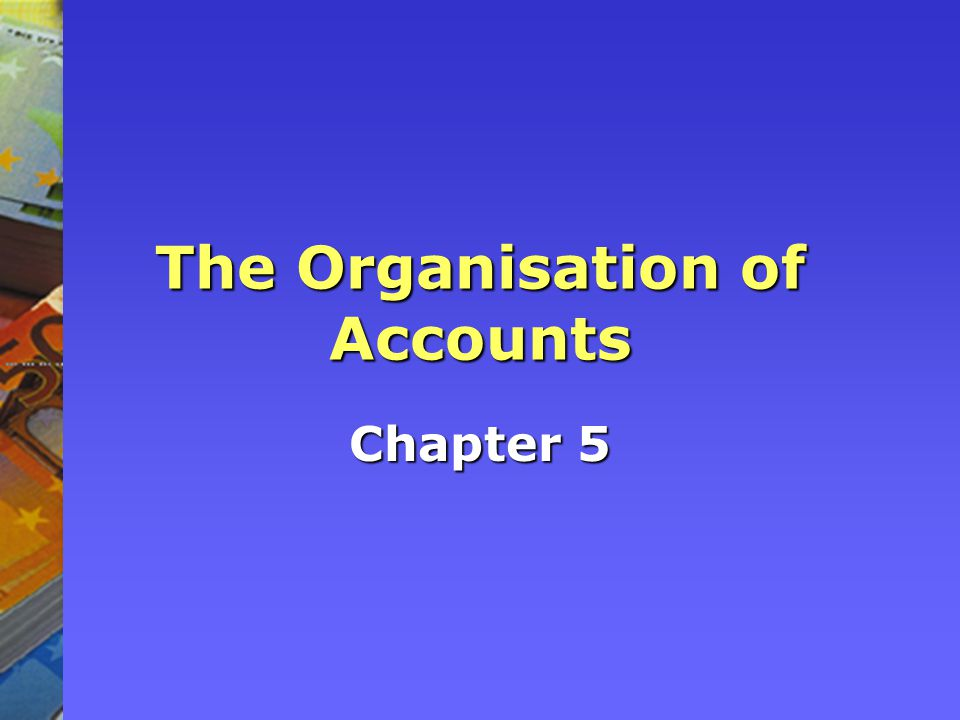 The Organisation of Accounts Chapter 5