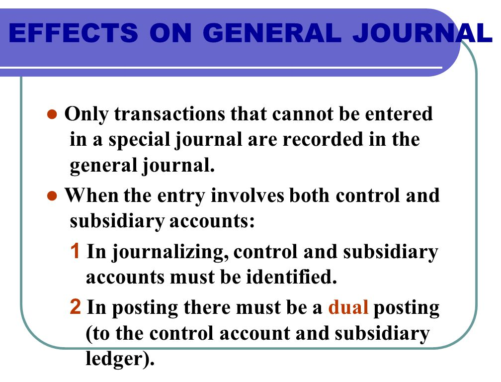 Only transactions that cannot be entered in a special journal are recorded in the general journal.