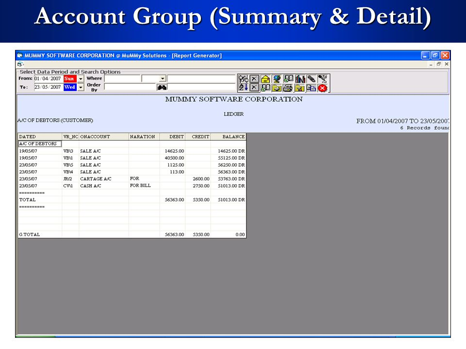 Account Group (Summary & Detail)