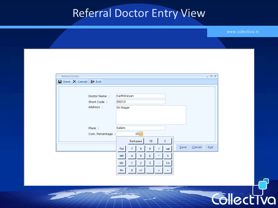 Referral Doctor Entry View