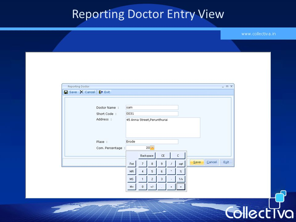 Reporting Doctor Entry View