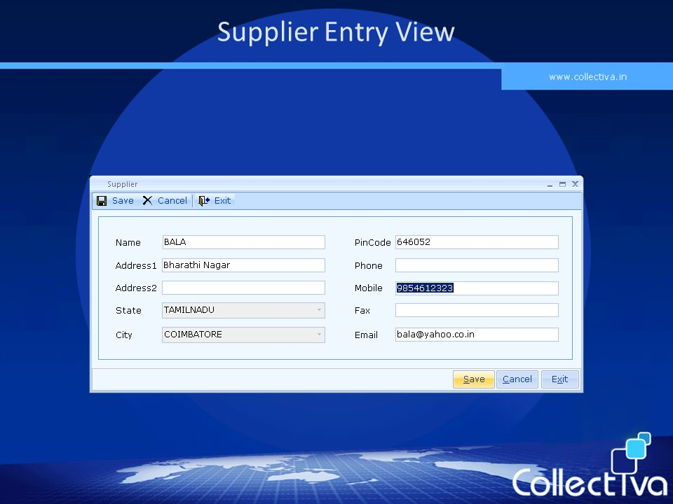 Supplier Entry View