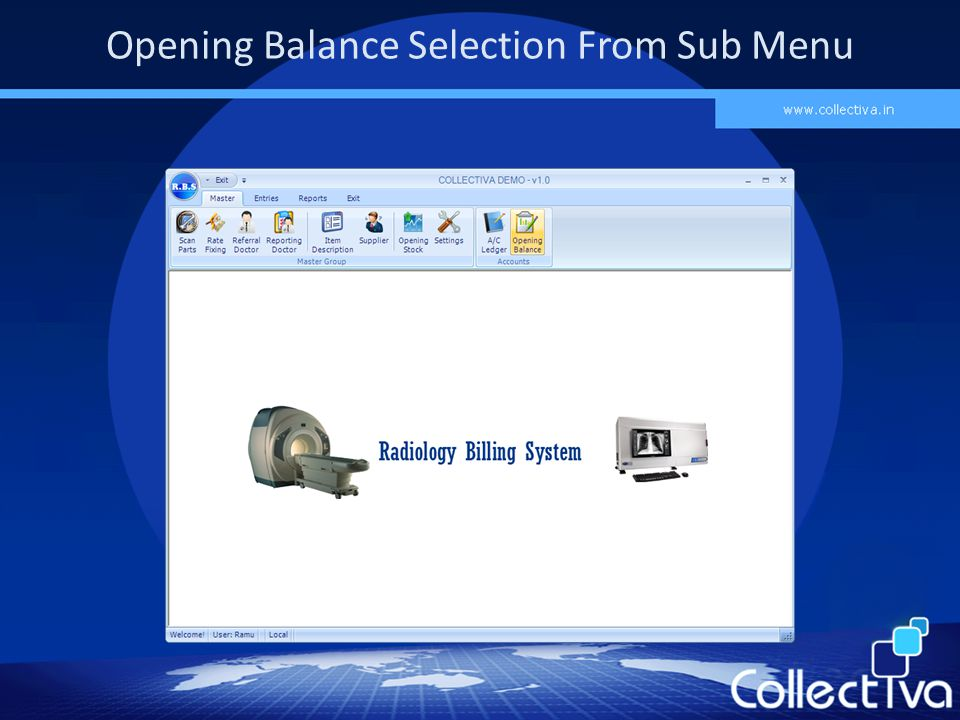 Opening Balance Selection From Sub Menu