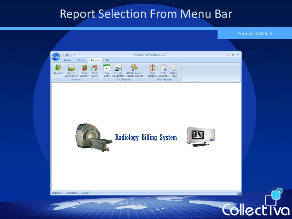 Report Selection From Menu Bar