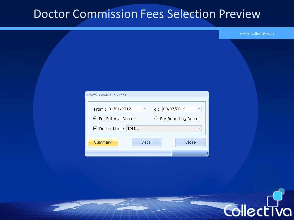 Doctor Commission Fees Selection Preview