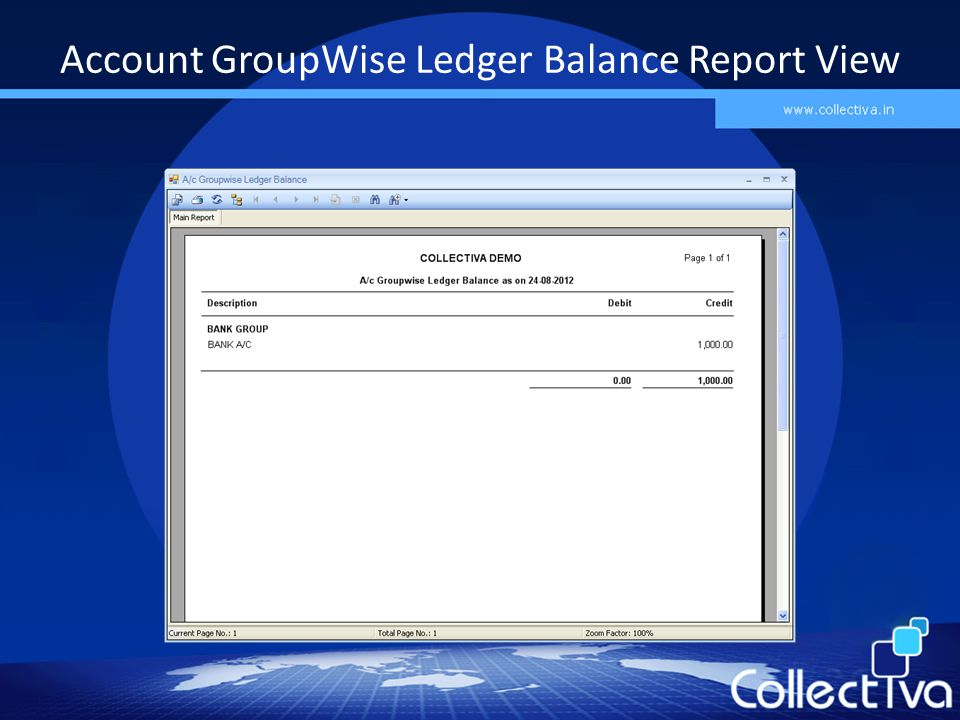 Account GroupWise Ledger Balance Report View