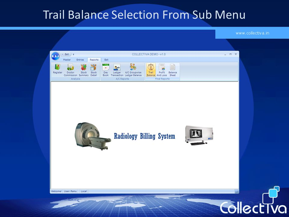 Trail Balance Selection From Sub Menu