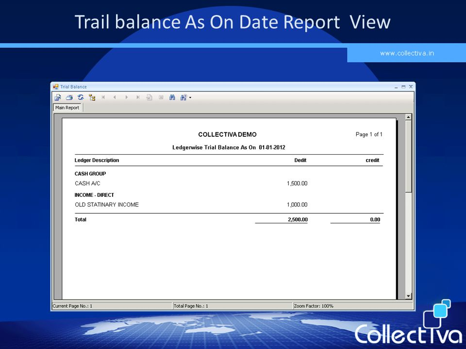 Trail balance As On Date Report View