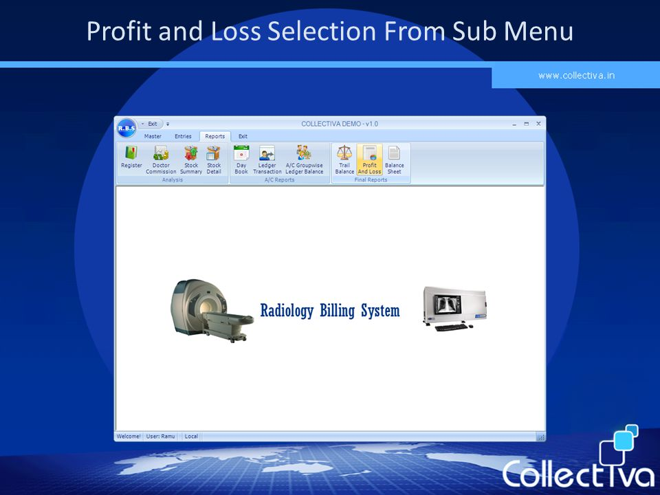 Profit and Loss Selection From Sub Menu