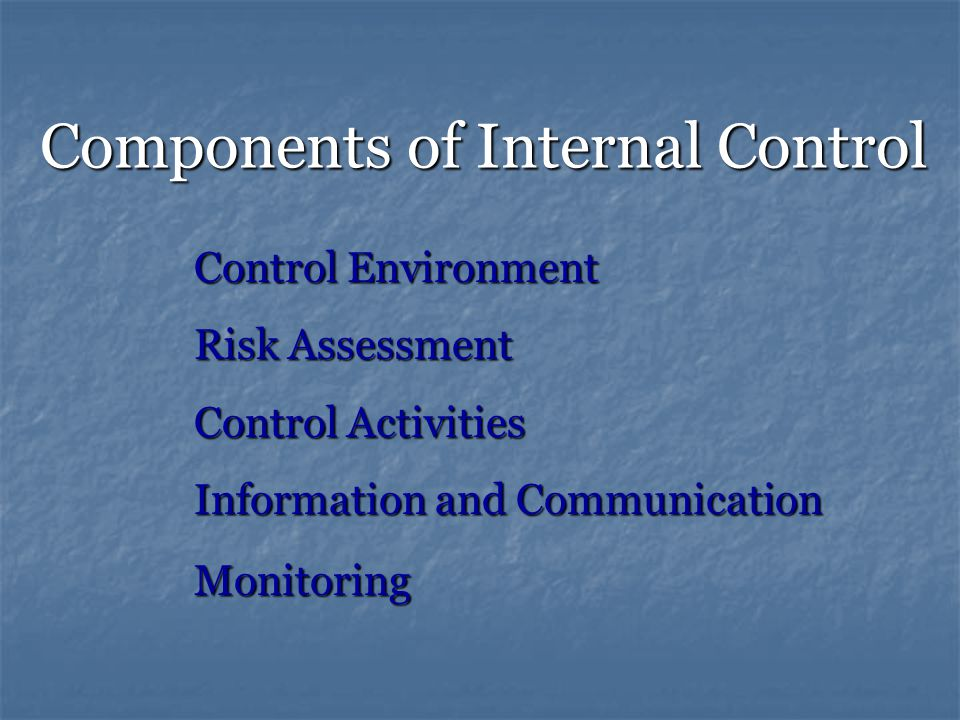 Components of Internal Control Control Environment Risk Assessment Control Activities Information and Communication Monitoring