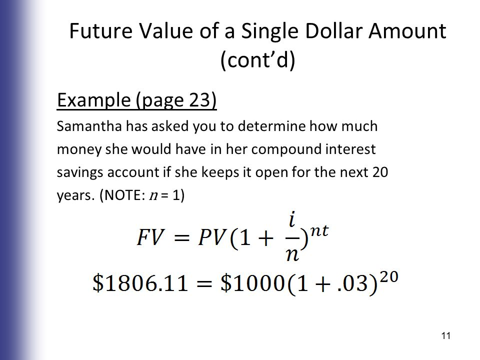 Future Value of a Single Dollar Amount (cont'd) Example (page 23) Samantha has asked you to determine how much money she would have in her compound interest savings account if she keeps it open for the next 20 years.