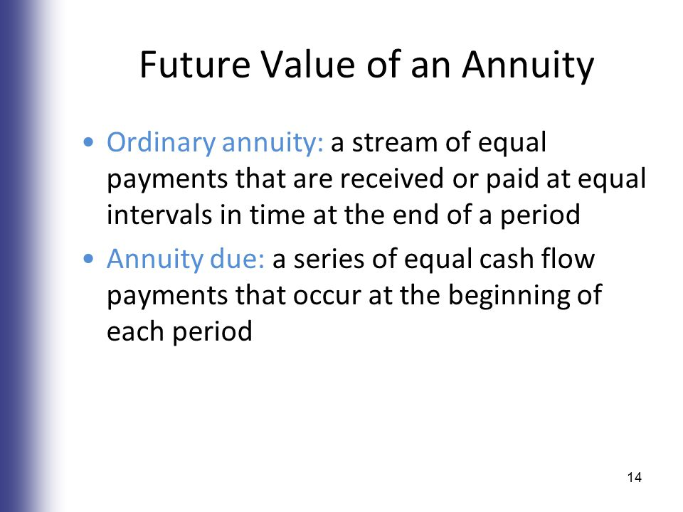 Future Value of an Annuity Ordinary annuity: a stream of equal payments that are received or paid at equal intervals in time at the end of a period Annuity due: a series of equal cash flow payments that occur at the beginning of each period 14