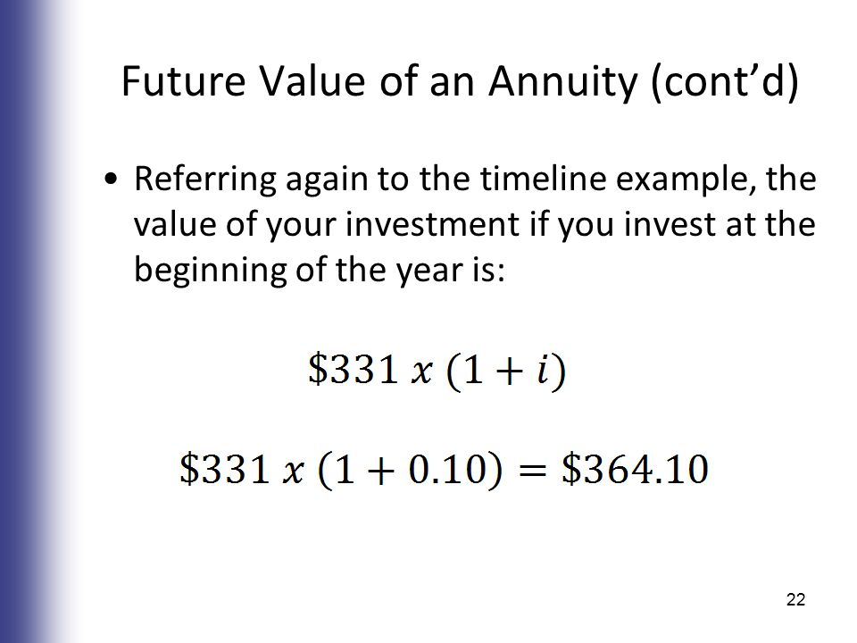 Future Value of an Annuity (cont'd) Referring again to the timeline example, the value of your investment if you invest at the beginning of the year is: 22