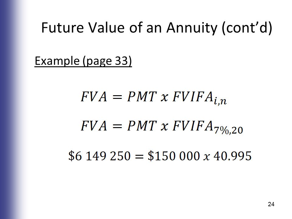 Future Value of an Annuity (cont'd) Example (page 33) 24
