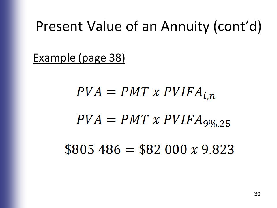 Present Value of an Annuity (cont'd) Example (page 38) 30