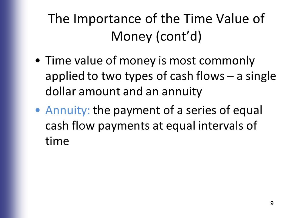 The Importance of the Time Value of Money (cont'd) Time value of money is most commonly applied to two types of cash flows – a single dollar amount and an annuity Annuity: the payment of a series of equal cash flow payments at equal intervals of time 9