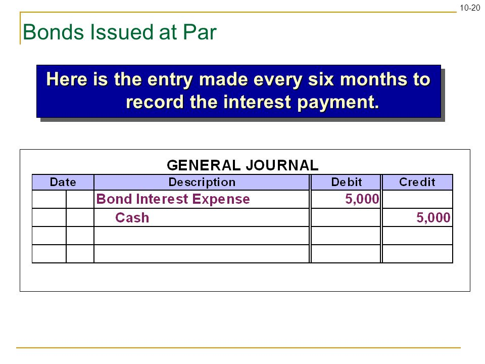 10-20 Bonds Issued at Par Here is the entry made every six months to record the interest payment.