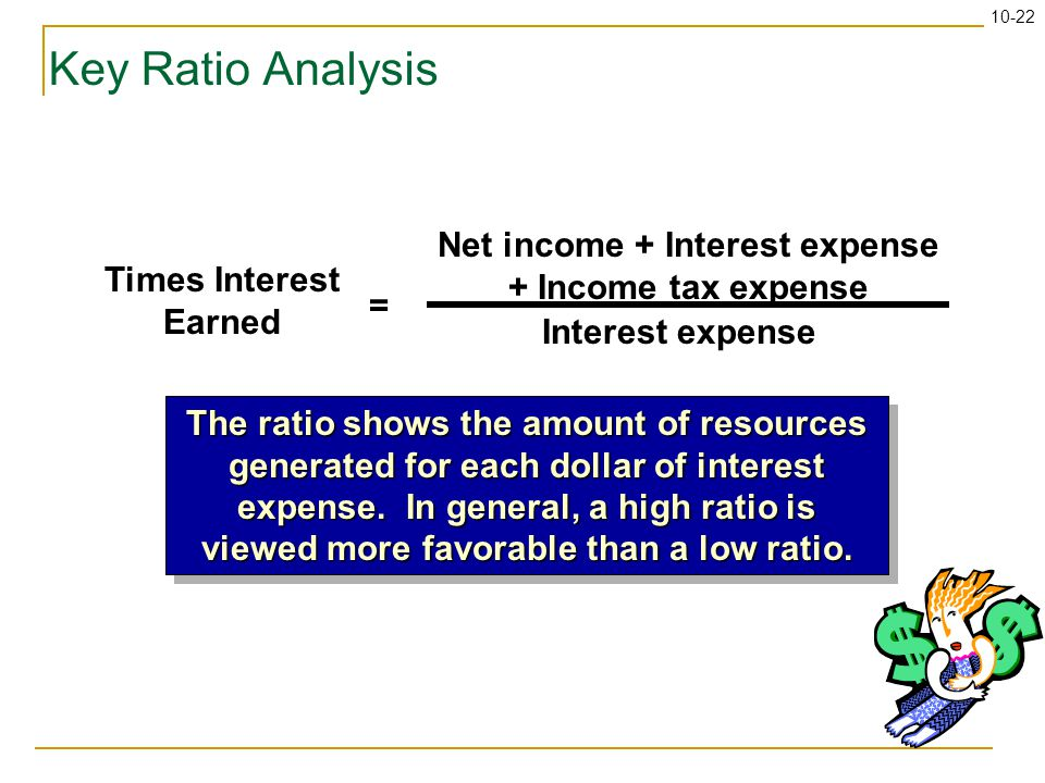 10-22 Key Ratio Analysis Times Interest Earned = Net income + Interest expense + Income tax expense Interest expense The ratio shows the amount of resources generated for each dollar of interest expense.