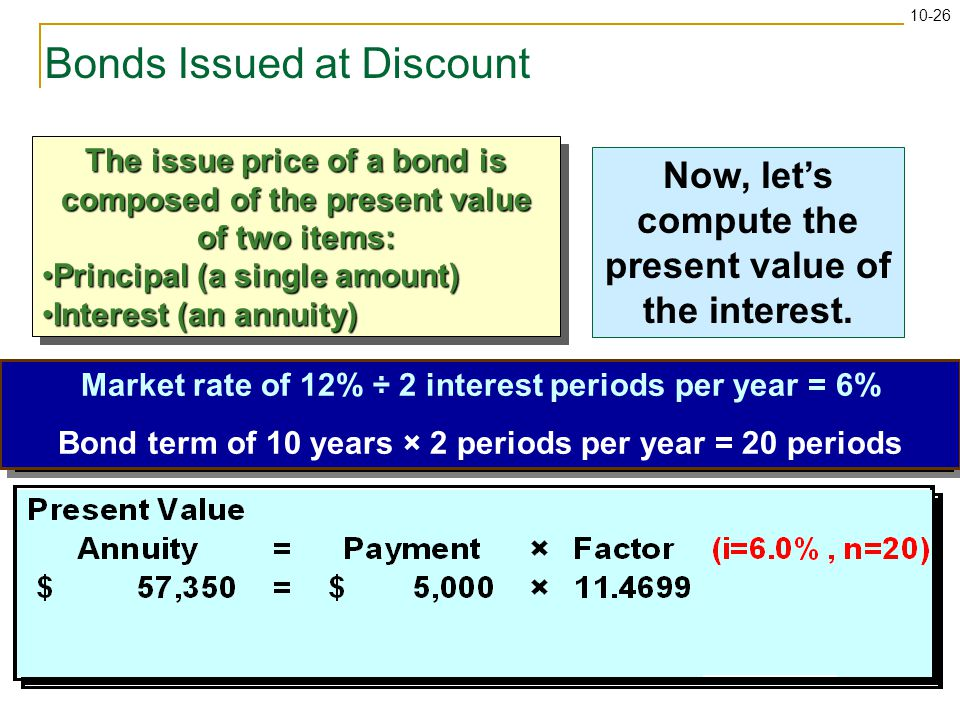 10-26 Use the present value of an annuity table to find the appropriate factor.