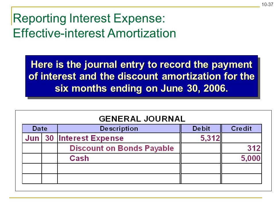 10-37 Reporting Interest Expense: Effective-interest Amortization Here is the journal entry to record the payment of interest and the discount amortization for the six months ending on June 30, 2006.