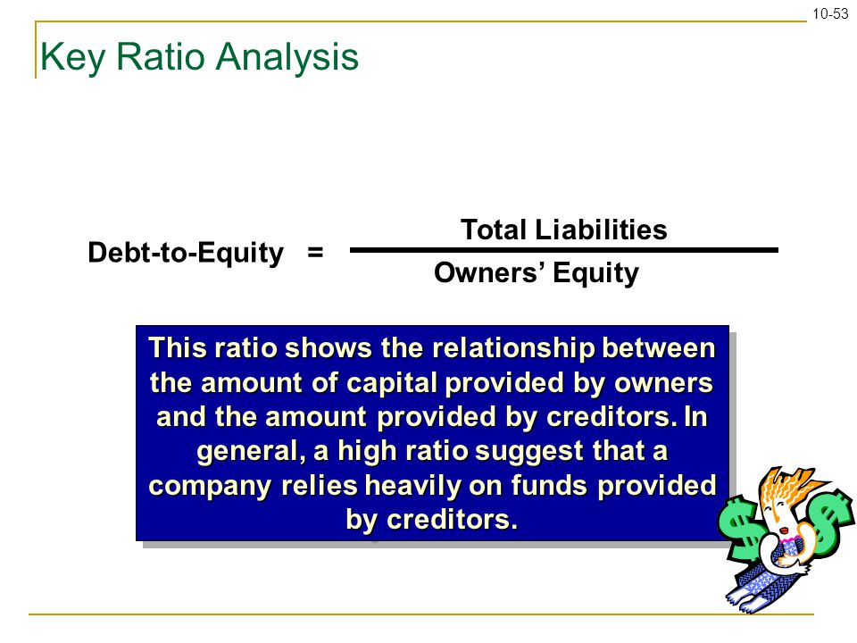 10-53 Key Ratio Analysis Debt-to-Equity = Total Liabilities Owners' Equity This ratio shows the relationship between the amount of capital provided by owners and the amount provided by creditors.