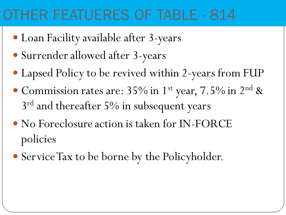 Loan Facility available after 3-years Surrender allowed after 3-years Lapsed Policy to be revived within 2-years from FUP Commission rates are: 35% in 1 st year, 7.5% in 2 nd & 3 rd and thereafter 5% in subsequent years No Foreclosure action is taken for IN-FORCE policies Service Tax to be borne by the Policyholder.